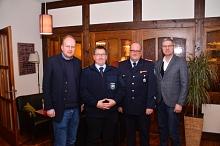 FW-Ausschussvorsitzender Birger Lerch, Ortsbrandmeister Linsburg Björn-Albrecht Busse, Gemeindebrandmeister Ingo Müller, Samtgemeindebürgermeister Knut Hallmann