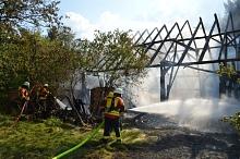 Im Aussenangriff unter Atemschutz wurde der Brand gelöscht