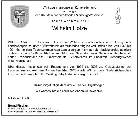 Nachruf Willi Hotze©KFV-Nienburg