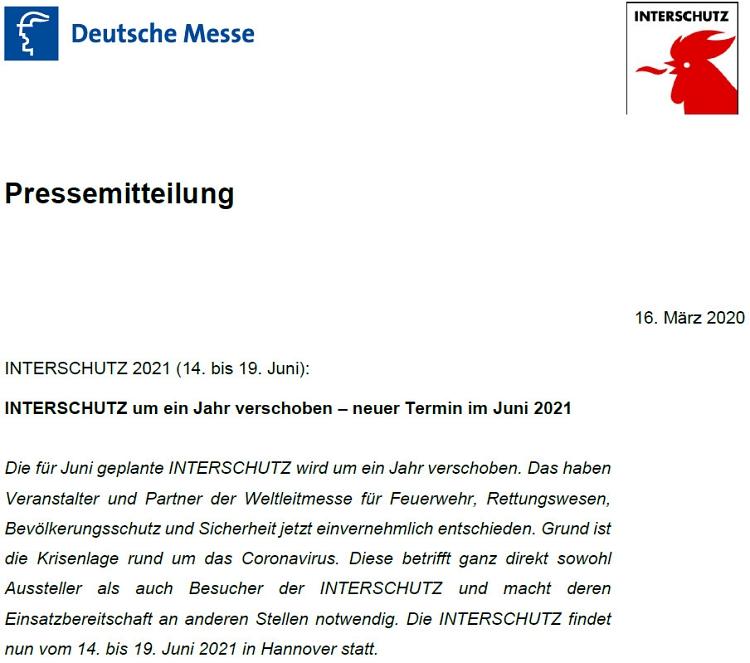 Pressemitteilung Interschutz 2020©Messe AG